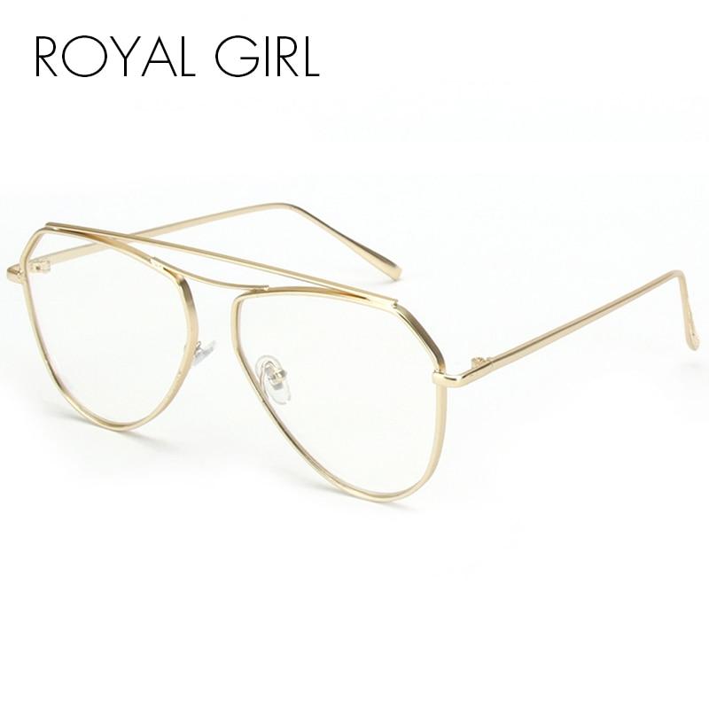ROYAL GIRL 2017 New Double Bridge Sunglasses Women Fashion Brand Designer Metal Frame Men Optical Eyeglasses UV400 ss139