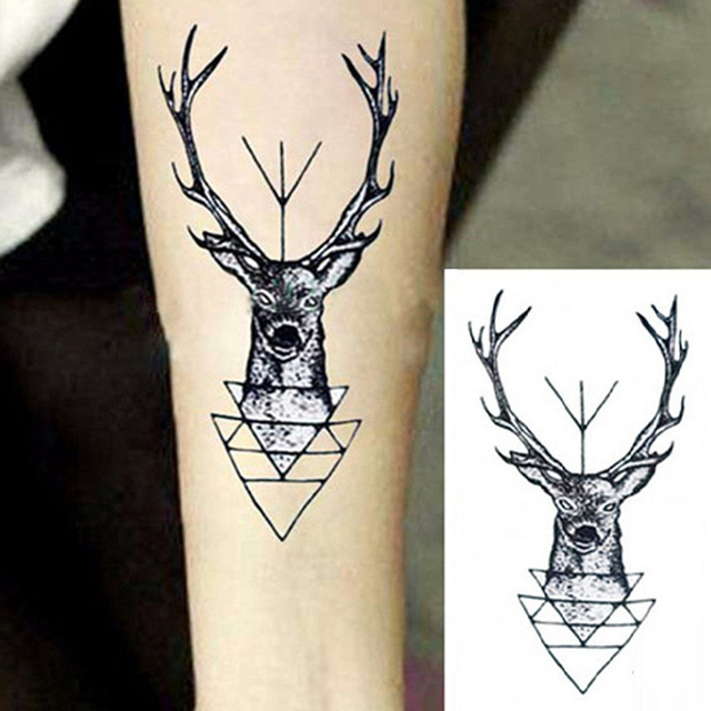 animal pattern waterproof flash tattoo elk deer head tattoo bucks rh aliexpress com elk antler tattoo designs elk antler armband tattoos