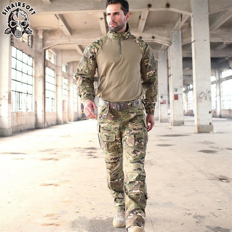 цена SINAIRSOFT Tactical G3 Camouflage Suit Military Airsoft Uniform BDU Rapid Assault 1/4 Zip Combat Shirt Pants Set Multicam Sniper