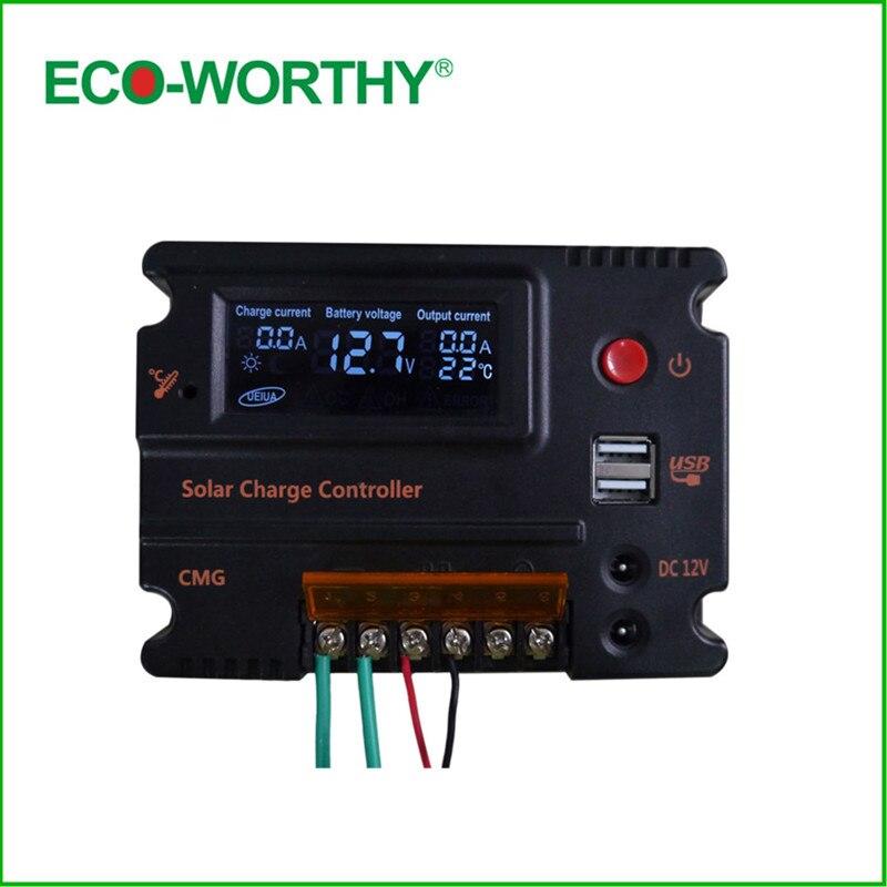 20A Solar Charger Controller 3A 5V USB Output Voltage & DC 12V/24V LCD Solar Panel Battery Regulator Charging for Lighting diy 5v 2a voltage regulator junction box solar panel charger special kit