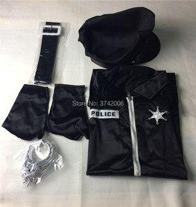 Image 4 - セクシーな女性警官役員女性警官衣装黒ジッパーサテン警察女性のセクシーなコスプレ衣装
