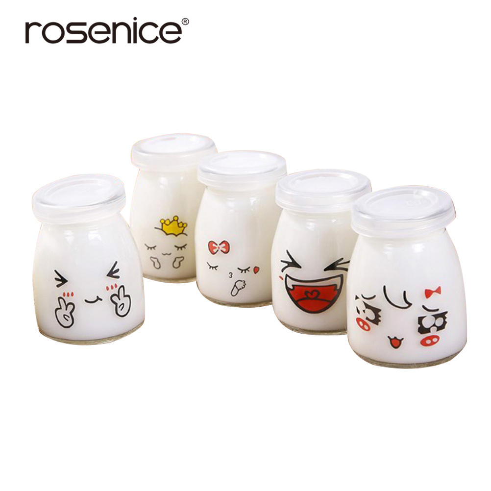 Yogurt-Containers Pudding-Bottle Jelly-Jar Glass Dessert-Shop Cute Milk-Cup Face