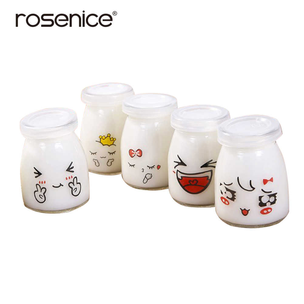 5pcs Pudding Bottle Cute Face Heat-resistant Glass Jelly Jar Yogurt Containers Milk Cup for Home Dessert Shop Restaurant