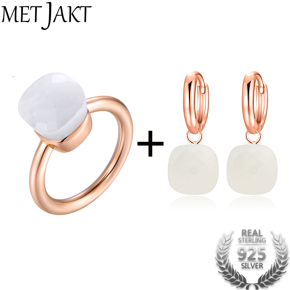 MetJakt Natural White Agate Earring Ring Sets Solid 925 Sterling Silver Rings with Rose Gold Plated for Womens Wedding JewelryMetJakt Natural White Agate Earring Ring Sets Solid 925 Sterling Silver Rings with Rose Gold Plated for Womens Wedding Jewelry