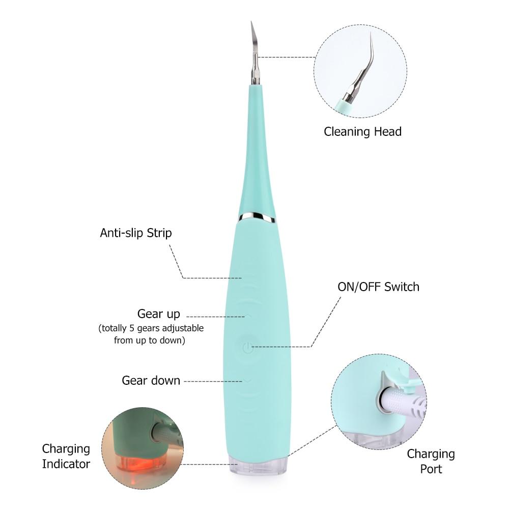 Teeth Whitening Waterproof Tooth Stain Eraser Tartar Teeth Stains Scaling Tools USB Charging Ultrasonic Dental Cleansing Machine