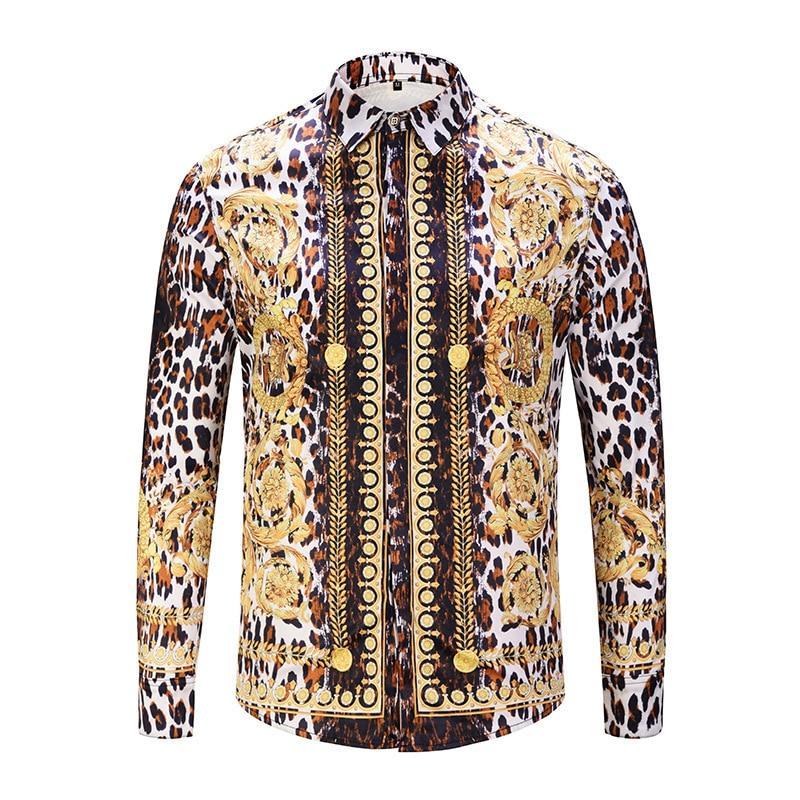 Luxury Gold Royal Print Men Shirt Dress Long Sleeve Shirt Casual Slim Fit Shirts 3D Print Tuxedo Social Shirt Chemise Homme