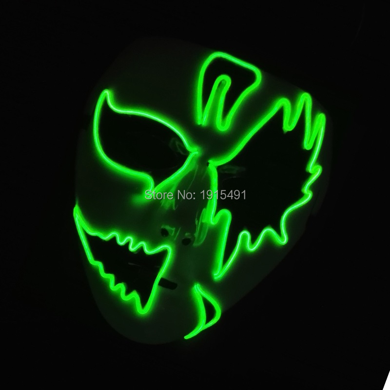 New Arrival Colorful Novelty Lighting Full Face Wedding Decor LED Cold Light Mask Steady On/Flashing EL Wire With DC-3V Driver