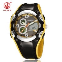 OHSEN Unisex Round Dial Analog Digital Dual Movement 30 M Waterproof Sports Watch With Plastic Strap