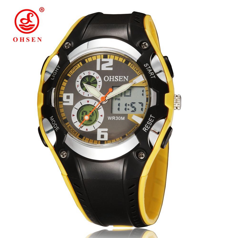 Prix pour Mode OHSEN marque numérique sport montres enfants garçons étanche noir Rubber Band bracelet populaire militaire montre pour cadeau