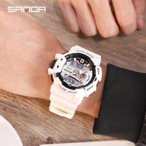 Image 4 - 2019 sanda 새로운 s 충격 남자 스포츠 시계 남자에 대 한 큰 다이얼 디지털 시계 럭셔리 브랜드 led 군사 방수 남자 손목 시계