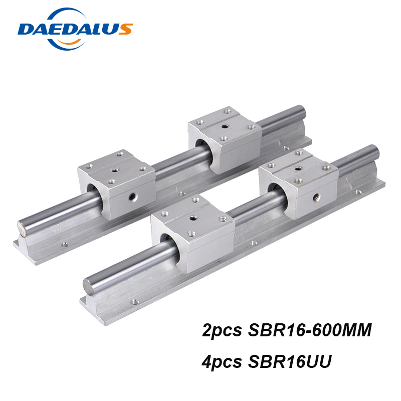 2pcs 16mm Linear Rail SBR16 600mm Linear Guide+4pcs SBR16UU Linear Bearing Motion Ball Blocks For CNC Router Part Tools