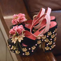 Flowers String Bead Luxury Women Shoes Newest Fashion Cheap Price Best Quality Hot Selling Special Noble