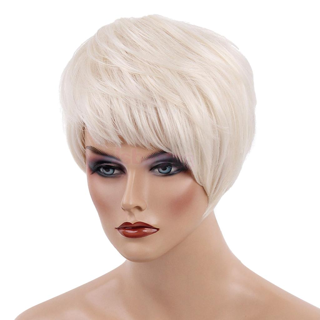 Lady Human Hair Wig Bob Silver Gold Short Straight Wigs with Oblique Bangs Heat Resistant Cool Pixie Cut Womens Wig