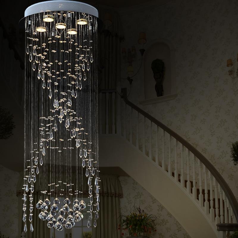 T Circular Kristall Pendelleuchte Fr Treppen Hohe Decke Moderne Spirale Lampe Wohnzimmer Halle Hotel Schlafzimmer