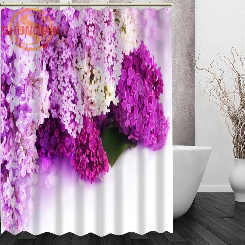 Lilac Flowers Shower Curtain Eco Friendly Modern Fabric Polyester Custom Bath Curtains Home Decor