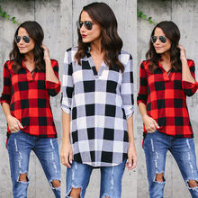 HIRIGIN Newest Hot Fashion Women Cotton Blend Casual Plaid Half Sleeve Shirts Tops Blouse S-XL