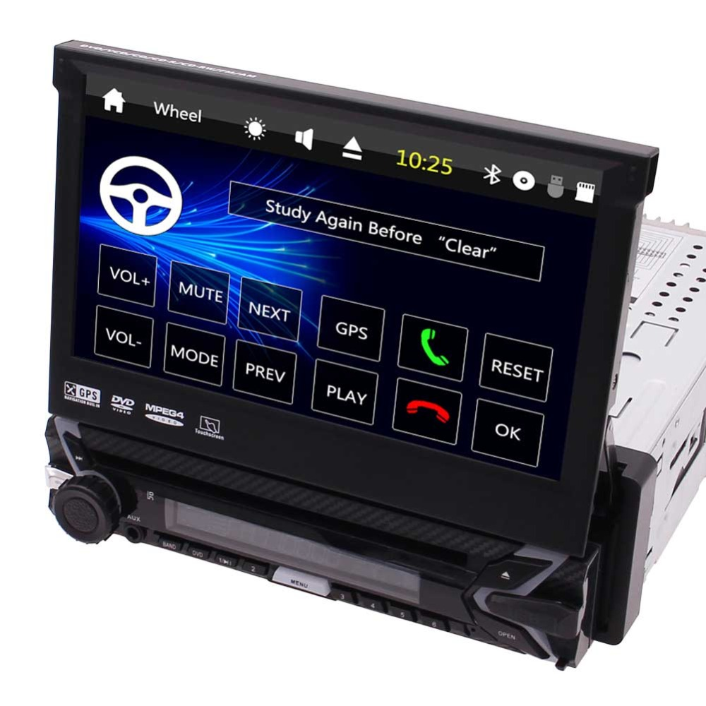 Flash Deal Capacitive Touch Screen Wince System Single 1 Din Car Stereo DVD Player Support GPS Navigation/USB/SD/Cam-in/Bluetooth/Steering 0