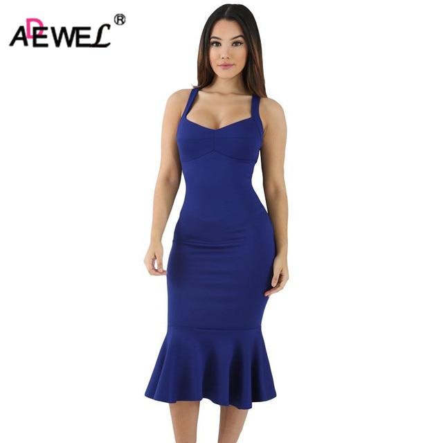 b2c131fe11d0 ADEWEL Mulheres Cinta Larga Espaguete Elegante Vestido Bodycon Sereia  Vestido de Festa Estilo Simples vestido Midi