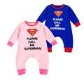 Superman Romper do bebê 2016 Primavera Marca de Roupas Das Meninas Dos Meninos Da Criança Recém-nascidos Macacão de Algodão Dos Desenhos Animados Batman Superman Romper Do Bebê