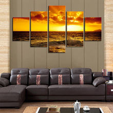 Frame boat Modular Picture Seascape Sunset 5 Pieces Canvas Art Prints Framework Painting Sea Oil Wall Pictures