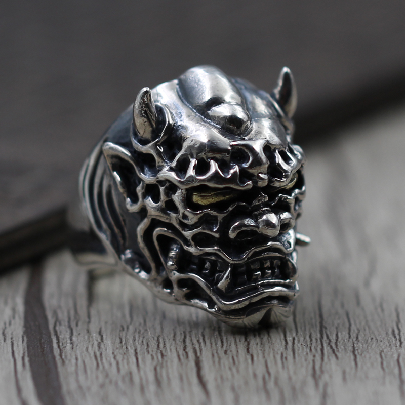 S925 Vintage Sterling Silver Skull Ring men's domineering personality exaggerated Prajna Silver Ring thai silver ring retro unique exaggerated domineering kamen rider s925 sterling silver ring men