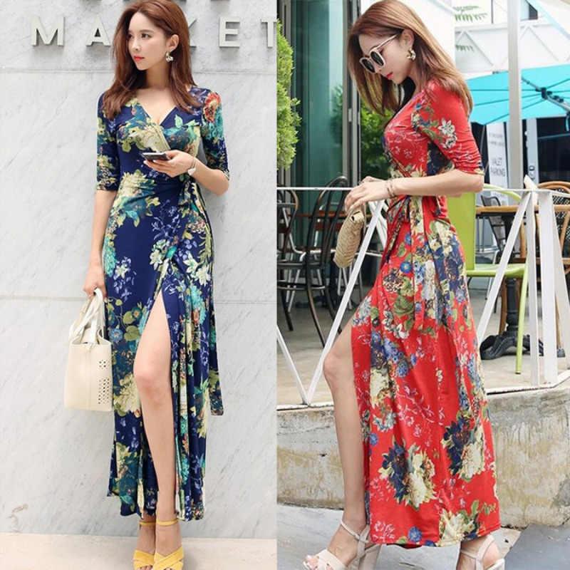 Богемное винтажное платье с цветочным принтом и поясом, пляжные платья, женская одежда макси, летнее платье с v-образным вырезом