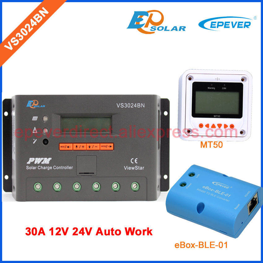 Two colors MT50 remote meter with solar charger controller VS3024BN 30A 30amps 12V 24V bluetooth function EPEVER 24v 30amp epsolar epever new series solar controller vs3024bn charger lcd display 30a 12v 24v auto work