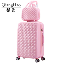 2 pcs / set cosmetics bag 14 inch 20 / 24 inch lady woman college students trolley journey baggage suitcase field rotary unit can rolling