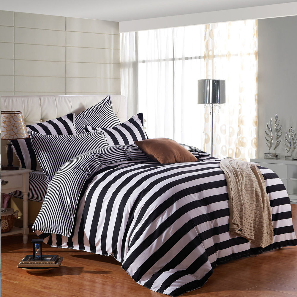 online get cheap stripe bedding aliexpresscom  alibaba group - hot sale pcs solid hotel beddingset stripe bedding sets sheets duvetcover king bedclothes