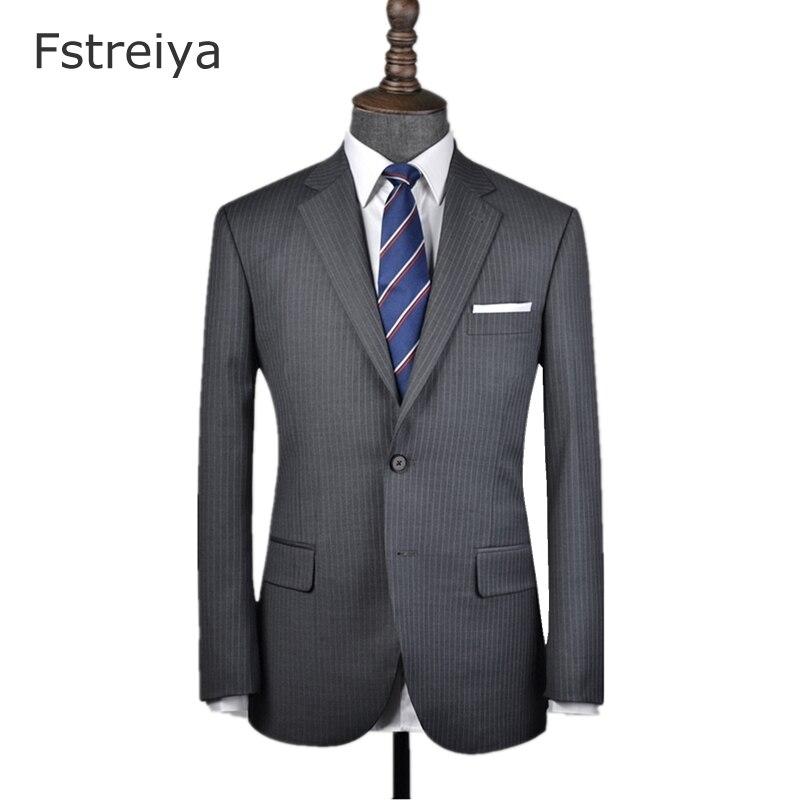Индивидуальный заказ высокое бренд высокое качество 160's камвольно серый в тонкую полоску костюм с брюки для девочек свадьбы Индивидуальные