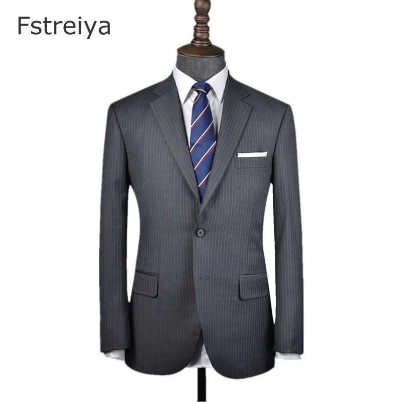 Custom Made hight brand quality 160s worsted grey Pinstripe Suit with pants for wedding customized slim fit groom suits