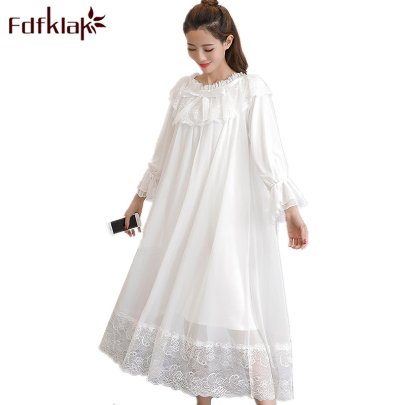 Summer 2020 New Sleeping Dress White/Pink Long Nighties For Women Cotton Nightgown Nightwear Sleepwear Night Dress Fdfklak