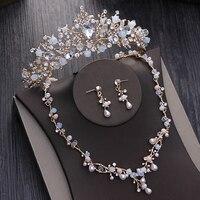 Ramo de Perolas Ouro Colar Tiara Conjunto De Joias Brincos de Casamento Artesanais Mulheres Acessorios De Noiva Conjuntos