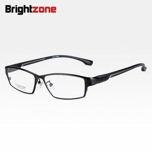 Image 4 - Brightzone moda tam jant Ultra hafif ağırlıklı esnek IP elektronik kaplama Metal titanyum jant gözlük erkek gözlük çerçevesi