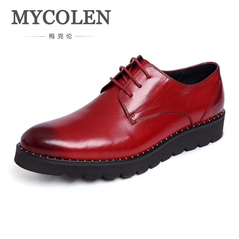 MYCOLEN New Luxury Fashion Design Top Real Mens Formal Business Shoe Round Toe Men Dress Breathable Men Shoes For Wedding eioupi top quality new design genuine real leather mens fashion business casual shoe breathable men shoes lh1288