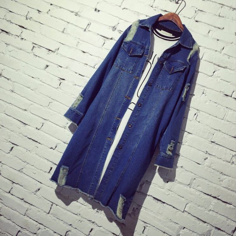 Womens Autumn Jackets And Coats 2016 New Design Frayed Washed Denim Outwear Girls Casual Slim Pocket Clothing New Street Fashion (3)