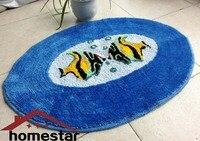 Zachte geborduurde floor mat ronde oval rug versieren kleine carpet antislip badkamer Mat Gebied Tapijt Voet Mat Blauw Vis Deur Mat Pad