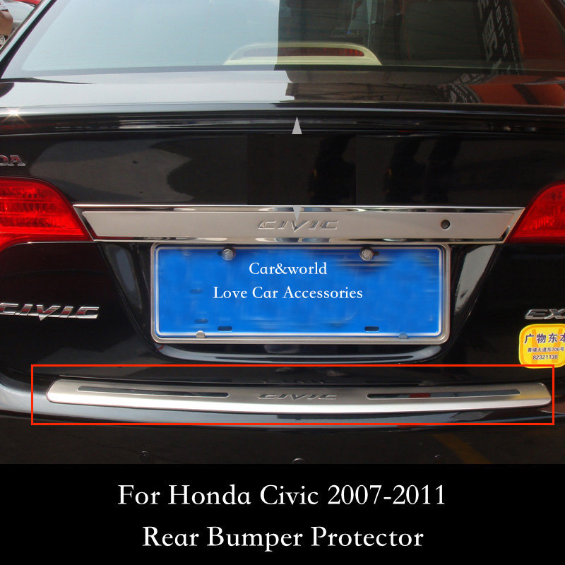 For Honda Civic Rear Bumper Protector Tailgate Trunk Guard Trim 2007 2008 2009 2010 2011 Stainless Steel Car styling Accessories фото