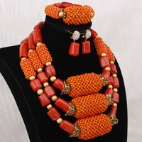 Dudo Jewelry Orange African Coral & Crystal Beaded Dubai Gold Jewellery Balls 3 Layers Women Bridal Jewelry Sets For Women 2019