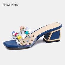 transparent plastic rivet multi-color rhinestone luxury slippers woman crystal metal decoration sheepskin Bohemian slides shoes