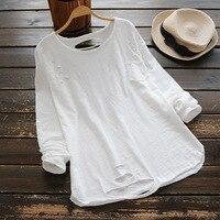 Rahat Tatlı T-Shirt Kadın Giyim Uzun Kollu Yuvarlak Boyun Siyah Beyaz Delik Cep Pamuk Bayanlar T-shirt Tees Tops Için U683