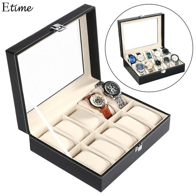 FANALA Black Watch Box PU leather 10 Grid Watch Winder Display Box Boite Montre