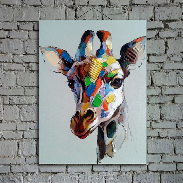 Modern abstract oil paintings on canvas for pop art giraffe manual painting animals pop art household adornment picture