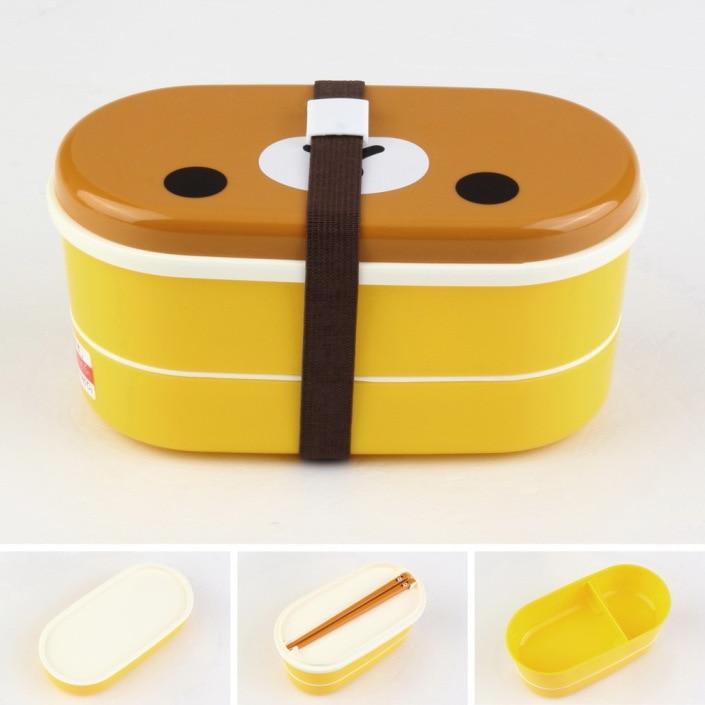 High Quality 1Set Plastic Bento Food Storage Brown Color Microwave Rilakkuma Bento Multilayer Children Dineware Bento Box