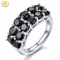 HUTANG 4.2ct Natural Black Garnet Wedding Rings Solid 925 Sterling Silver Ring Gemstone Fine Jewelry Women's Christmas Gift