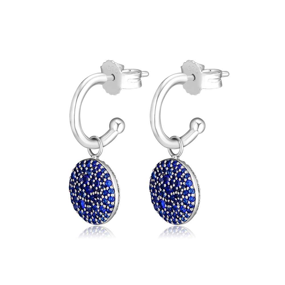 Classic Elegance Earrings With Royal Blue Crystal 100 925 Sterling Silver Jewelry Free Shipping in Drop Earrings from Jewelry Accessories