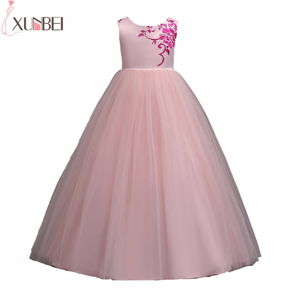 New Arrival Floor Length   Flower     Girl     Dresses   2019 Mint Green Ball Gown Kids Pageant   Dresses   Embroidery Communion   Dresses