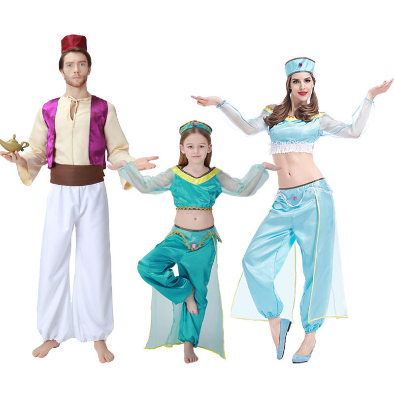 Adult Kid Summer Aladdin and the magic lamp Princess Jasmine Cosplay Costume for Family Halloween/Carnival/Show/Party Costumes