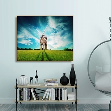 Laeacco Windmill Sunrise Wall Artwork Canvas Calligraphy Painting Posters and Prints Home Decoration Living Room Decor
