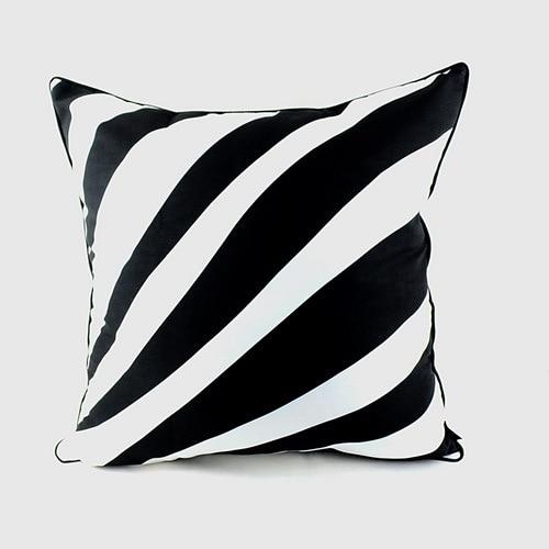 45 * 45 εκ. Αρχική διακοσμήστε σχεδιαστής μαύρο και άσπρο Zebra εκτύπωση δέρματος λεπτή μίνι ράφι πέλμα μαξιλαροθήκη κάλυμμα μαξιλαριού για καναπέ